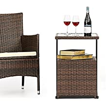 OUTROAD Outdoor Furniture C-Shaped Sofa Side Table - All Weather Wicker End Table W/ Portable Storage
