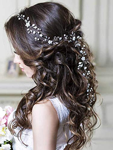 Unicra Silver Wedding Crystal Flower Hair Vine Bridal Headpiece Headbands Wedding Hair Accessories for Brides