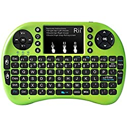 Rii i8+ Mini Wireless 2.4G Backlight Touchpad Keyboard with Mouse for PC/Mac/Android, Green (MWK08+)