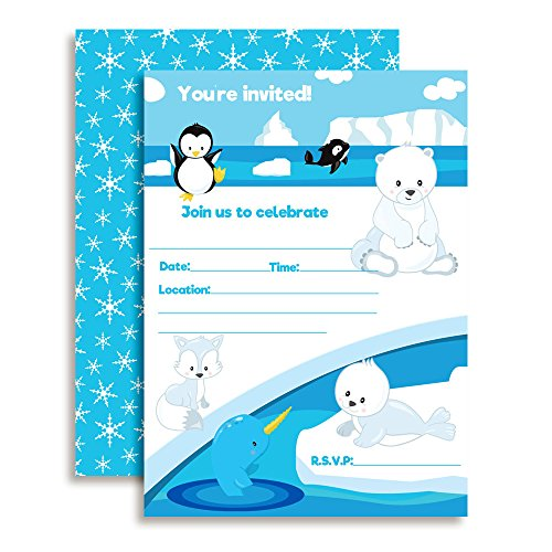 Arctic Friends Winter Birthday Party Invitations with Penguin, Narwhal, Whale, Polar Bear and Seal. 20 5