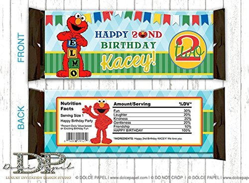 10 ELMO Hershey Bar Wrappers Large 2nd Birthday Party ANY AGE Elmo Favors