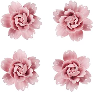 Insiswiner Ceramic Flowers Handcrafted Sculpture Home Hanging 3D Wall Art Decor Decoration for Living Room Bedroom Pink Peony (4 Pack)
