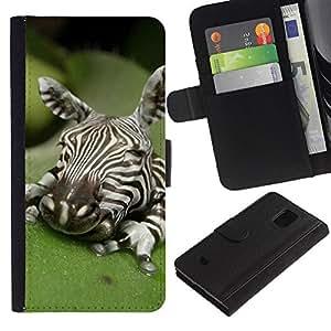 LASTONE PHONE CASE / Lujo Billetera de Cuero Caso del tirón Titular de la tarjeta Flip Carcasa Funda para Samsung Galaxy S5 Mini, SM-G800, NOT S5 REGULAR! / Baby Cute Art Sleeping Nature