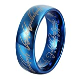 LILILEO Jewelry 8mm Tungsten Ring Blue Plated Lord Of The Rings For Unisex Rings