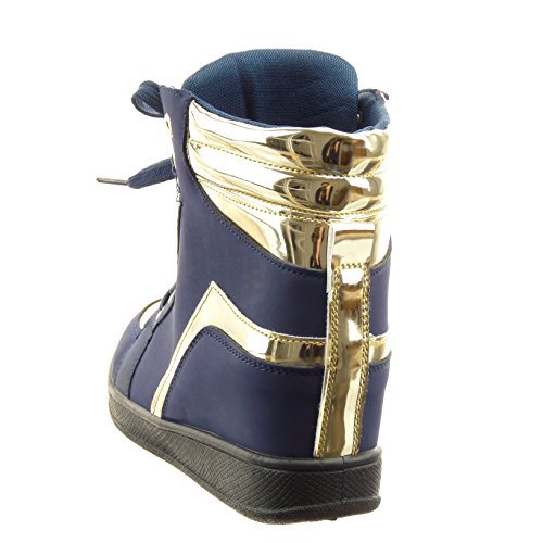 Sopily - Scarpe da Moda alti alla caviglia donna d'oro lucide Tacco zeppa 6 CM - Blu