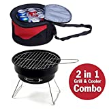 GigaTent Portable BBQ Grill and Cooler Combo - Collapsible, Insulated Cooling Tote with Mini 6.4' Table Top Charcoal Barbecue Inside - Shoulder Strap - Great For Camping and Picnics