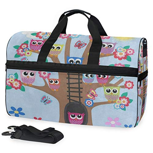 Gym Bag Funny Owl Butterfly Tree Duffle Bag Large Sport Travel Bags for Men Women