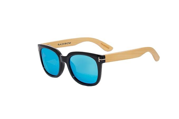 Sonnenbrille Rainbow® Wayfarer Vintage / Damen Herren Unisex / Bügeln Holz / Polarisierte Linse (RWC Blau-Grün Spiegel) SFLBZWVX