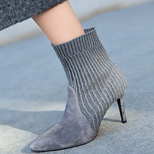 High Heels Frauen Spitz Heels Chelseboots gray