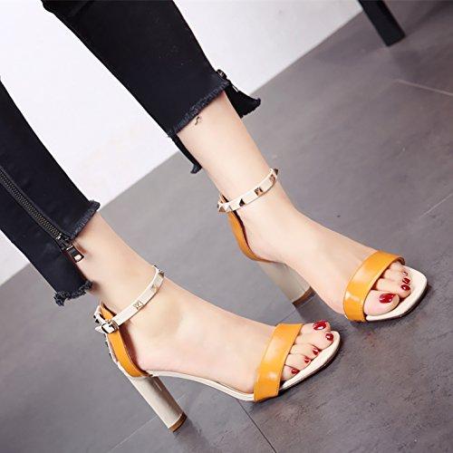 Estilo Zapatos Sapo Hueco de tacón de común Sandalias YMFIE Rugoso Moda Europeo Las y Damas b Alto Verano xSwnqCA40