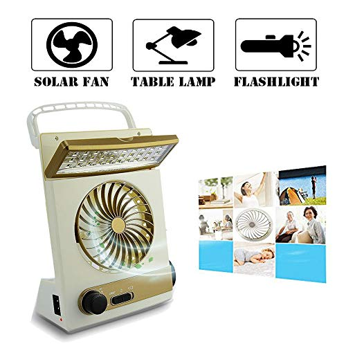 Ansee Solar Fan Camping Fan Cooling Table Fans 3 in 1 Multi-Function with Eye-Care LED Table Lamp Flashlight Torch Solar Panel Adaptor Plug for Home Use Camping (Golden)