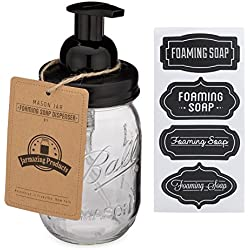 Jarmazing Products Mason Jar Foaming Soap Dispenser - Black - With 16 Ounce Ball Mason Jar - One Pack!