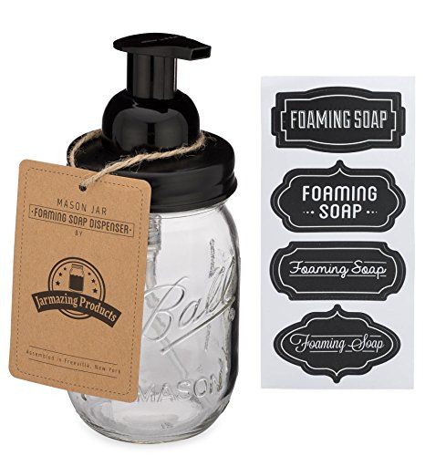 Jarmazing Products Mason Jar Foaming Soap Dispenser - Black - With 16 Ounce Ball Mason Jar - One Pack! ()