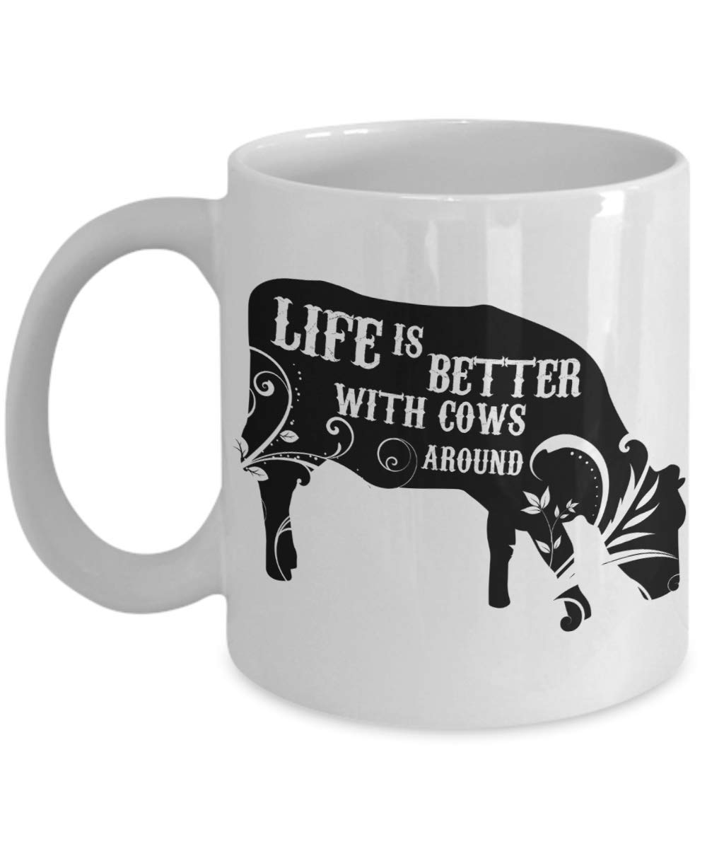 PixiDoodle Floral Animal Cow Lover Coffee Mug (11 oz, White)