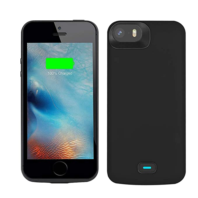 online retailer 9e1b6 1f349 RUNSY Battery Case Compatible with iPhone 5 / 5S / SE / SE2, 4000mAh  Rechargeable Extended Battery Charging Case, External Battery Charger Case,  Adds ...