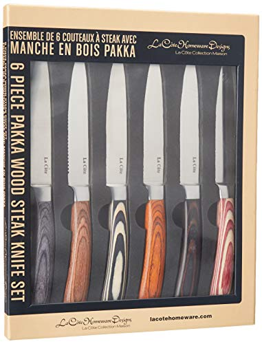 La Cote 6 Piece Steak Knives Set Japanese Stainless Steel Pakka Wood Handle In Gift Box (6 PC Pakka Wood)