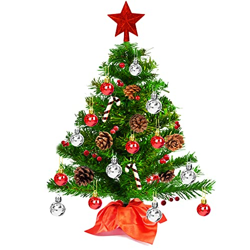 2Ft Prelit Mini Christmas Tree,Tabletop Small Artificial Christmas Tree with 49pcs Hanging Ornaments for DIY, Easy Assemble, Indoor Christmas Decorations Tiny Xmas Tree for Table, Room, Home Decor