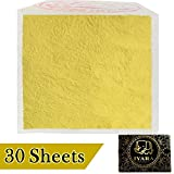 IYARA 30 Edible Leaf Sheets – Multipurpose 24 Karat Yellow Gold Leaves for Food and Cake Decoration, Spa Anti-Wrinkle Face Masks, Art, Crafts, Gilding, Restoration, DIY Projects (1.2' x 1.2')