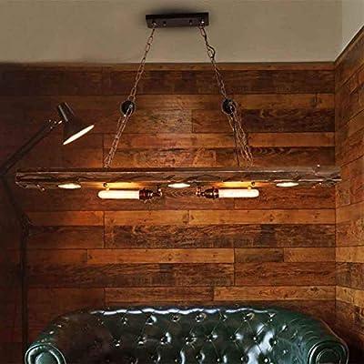 Luz colgante de barra loft retro, iluminación interior semi-incrustada de rama de metal de madera industrial, con enchufe T85 para decoración de tienda de restaurante de habitación: Amazon.es: Iluminación