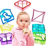 Hofumix Sandwich Cutter Bread Cutter Shapes Cookie Cutters Crust Cutters DIY Vegetable Cutters Maker Mould for Kids Cookie with Butterfly, Dinosaur, Dog, Elephant, Heart, Puzzle, Star 7pcs