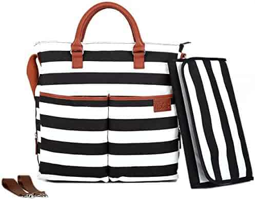 Diaper Bag by Hip Cub - Baby Changing Pad - Black /White Stripe W/ Cute Tan Trim