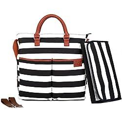 Diaper Bag by Hip Cub - Baby Changing Pad - Black/White Stripe W/Cute Tan Trim
