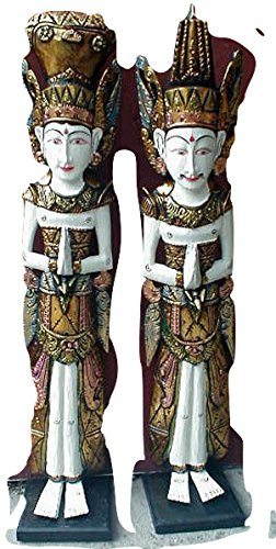 Over The Rainbow Bali Hindu Devi Dayung Legong Pair (2) Statue, Antique Style, Hand Carved, Large 39'' L, White by Over The Rainbow