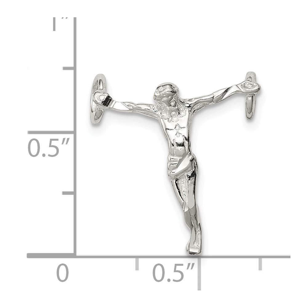 Sterling Silver Polished Mini Jesus Cross Chain Slide