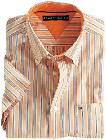 Tommy Hilfiger Camisa de Manga Corta Hombres Orange/Gestreift Talla:XX-Large: Amazon.es: Ropa y accesorios