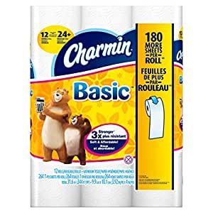 Charmin Toilet Paper, Basic Bath Tissue, Double Roll Toilet Paper, 48 Count