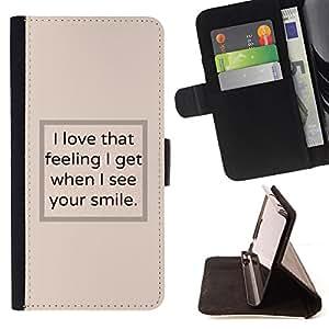 BullDog Case - FOR/Apple Iphone 5C / - / I see your smile poster text beige inspiring /- Monedero de cuero de la PU Llevar cubierta de la caja con el ID Credit Card Slots Flip funda de cuer