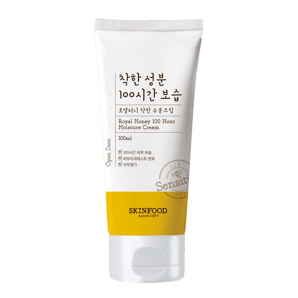 SKIN FOOD Royal Honey 100 Hour Moisture Cream 3.38 fl.oz. (100ml) - Hypoallergenic 100-hour Royal Honey & Royal Jelly Moisturizing Facial Cream for Senstivie Skin, 10 Free Mild Formula