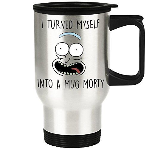 Rick Morty Travel Mug - Pickle Rick Parody - I Turned Myself Into a Mug Morty Funny Rick Sanchez Traveler Coffee Cup - Great Gift for Rick and Morty - Drink Christmas Snowball