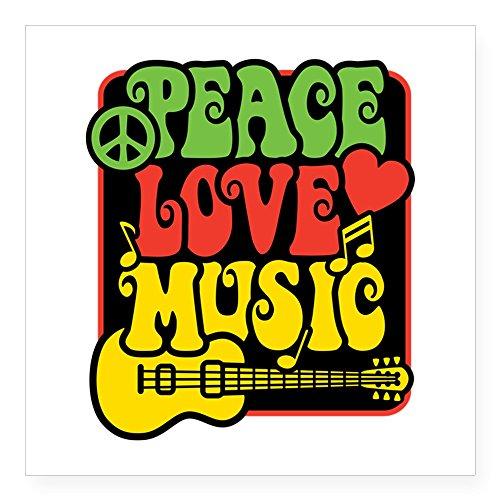 CafePress - Rasta Peace Love Music Sticker - Square Bumper Sticker Car Decal, 3