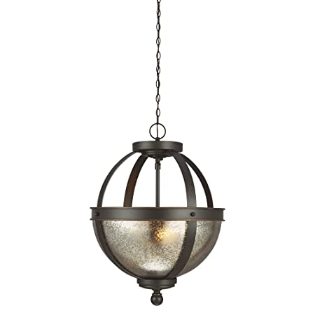 Sea Gull Lighting 7710402-715 Sfera Two-Light Semi-Flush Convertible Pendant with Mercury Glass Bowl, Autumn Bronze Finish