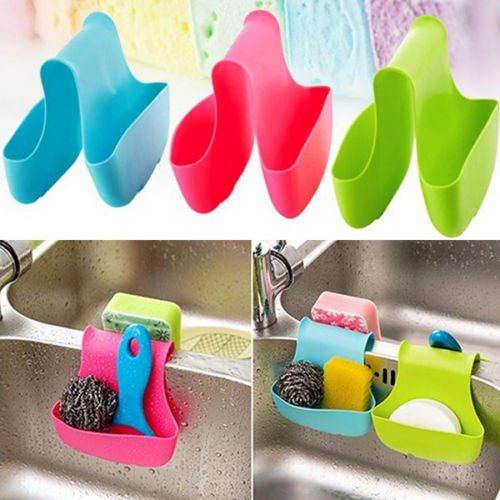 Jack-Store 3 Pcs Kitchen Saddle Hanging Double Sink Caddy Storage Sponge Rack Holder Organizers (Red/Green/Blue)