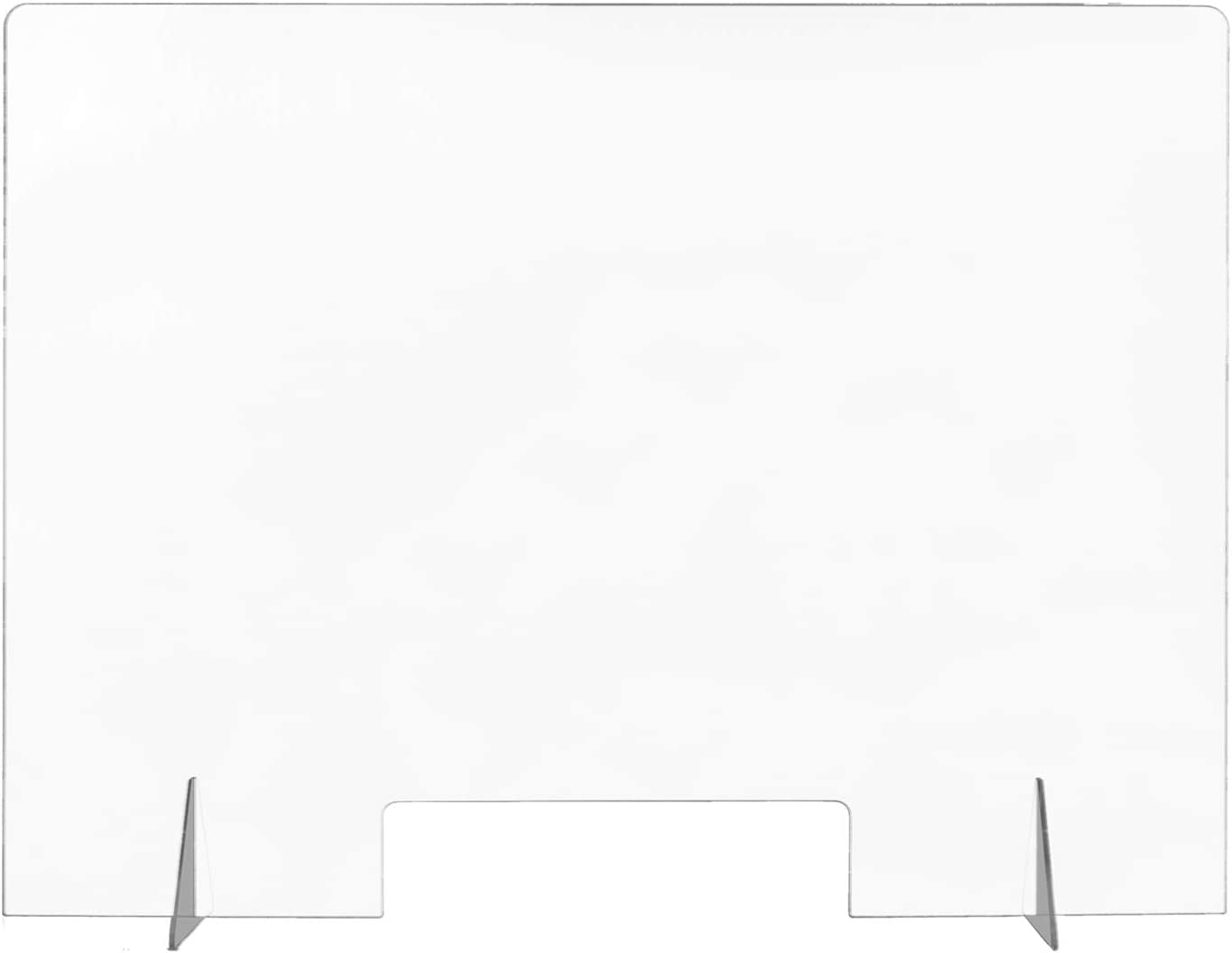 """Sneeze Guard Portable Counter Shield with Transaction Window 