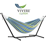 Vivere Double Oasis Hammock Combo with 9' Stand and Carry Bag