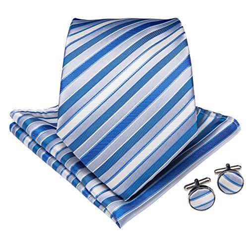DiBanGu Men's Silk Tie and Handkerchief Woven Stripe Necktie Cufflink Set Business (Blue and White)