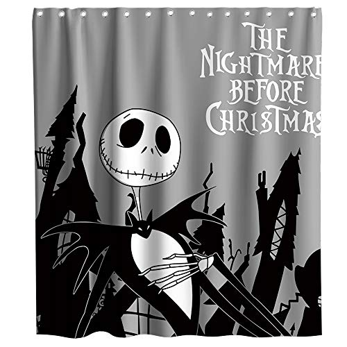 Nightmare Before Christmas Theme (Disney Nightmare Before Christmas Moonlight Madness Theme Fabric Happy Halloween Shower Curtain Sets Kids Bathroom Halloween Decor with Hooks Waterproof Washable 70 x 70 inches Black and)