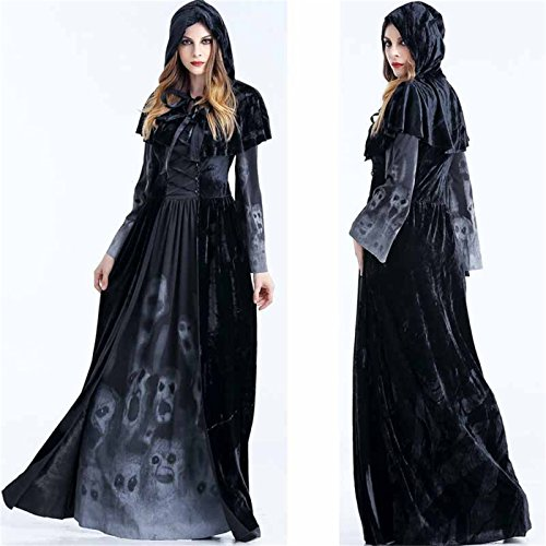 Womens Witch Vampire Costumes Halloween Ghost Cosplay Costume Cloak Dress Outfit (Black Hooded Dress Costume)