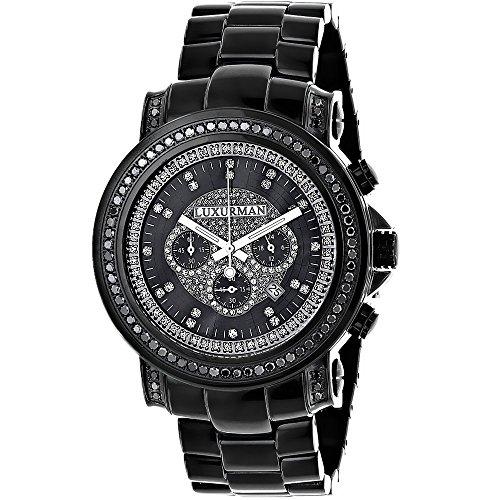 Luxurman 6.40E+11 Mens Black Diamond Watch by LUXURMAN 3ct ...