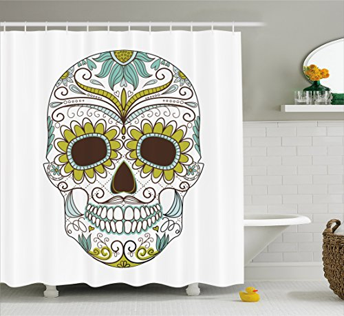 Sugar Skull Decor Shower Curtain by Ambesonne, Folk Calavera Elements Floral Day of the Dead Theme Figure, Fabric Bathroom Decor Set with Hooks, 70 Inches, Apple Green Brown (Sugar Skull Theme)