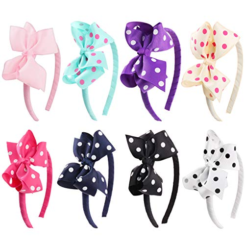 Candygirl 8Pack Girls Hair Bow Headband Parties Wedding Dancing Hairband (8 Bow)