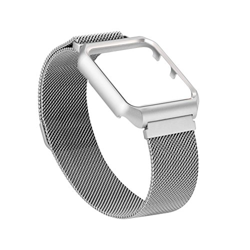 Amzelas Apple Watch Milanese band 42mm for iWatch Series 3/2/1 Sport Edition, Mesh Loop Magnetic Lock Stainless Steel Strap Bracelet with Protective Bumper Case Anti-Scratch (42mm Silver) (Mesh Replica)