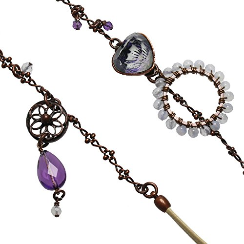 Tamarusan Eyeglasses Chain Leather Cord Glasses Strap Purple Amethyst Blue Lace by TAMARUSAN