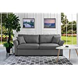 Classic and Traditional Ultra Comfortable Linen Fabric Sofa - Living Room Fabric Couch (Light Grey)