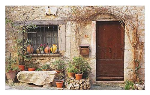 Lunarable Shutters Doormat, Flowerpot Plants Front Yard French Hilltop Village Saint-Paul De Vence Heritage, Decorative Polyester Floor Mat with Non-Skid Backing, 30 W X 18 L Inches, Beige Green