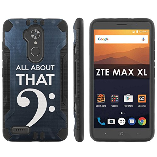 [Mobiflare] ZTE [Max XL] [Blade Max 3 Z986] [Max Blue] Shock Proof [Black/Black] Heavy Duty Armor Phone Case - [Bass Clef] for ZTE [Max XL] [Blade Max 3 Z986] [Max - Bass Baritone Blues