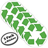 5 pack LARGE recycle symbol sticker for green, white, blue, recycling bins & containers for recycled plastic, paper, cardboard, trash, glass, bottles, aluminum cans and newspaper recyclables.